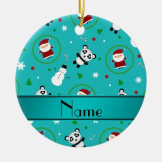 Personalized name turquoise panda santas christmas christmas ornament