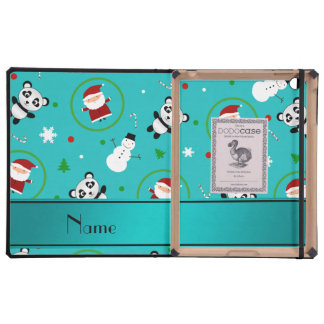 Personalized name turquoise panda santas christmas cover for iPad