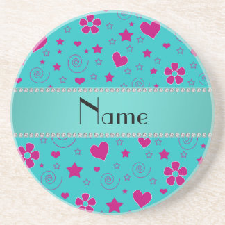 Personalized name turquoise pink flowers hearts beverage coaster