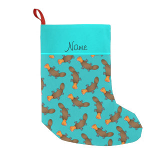 Personalized name turquoise platypus pattern small christmas stocking