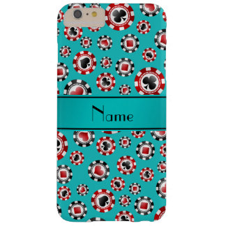 Personalized name turquoise poker chips barely there iPhone 6 plus case