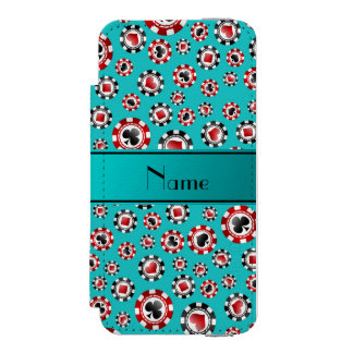 Personalized name turquoise poker chips incipio watson™ iPhone 5 wallet case