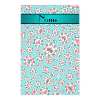 Personalized name turquoise poker chips customized stationery