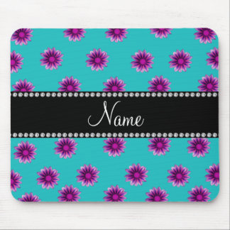 Personalized name turquoise purple pink flowers mouse pad
