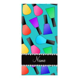 Personalized name turquoise rainbow nail polish photo cards