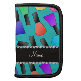 Personalized name turquoise rainbow nail polish planner