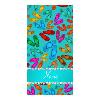Personalized name turquoise rainbow sandals photo card template