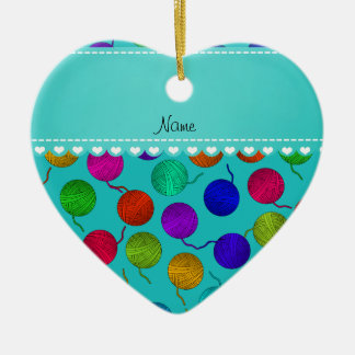 Personalized name turquoise rainbow yarn balls christmas ornament