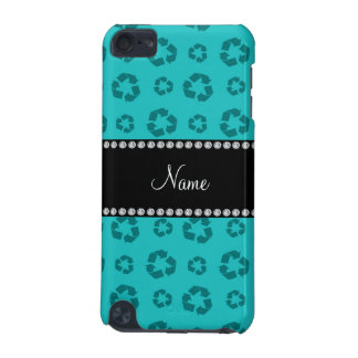 Personalized name turquoise recycling pattern iPod touch 5G covers