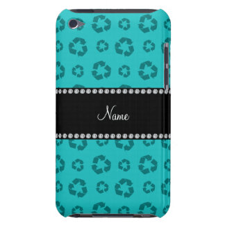 Personalized name turquoise recycling pattern iPod touch cases