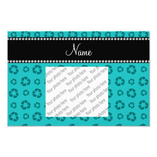 Personalized name turquoise recycling pattern photo art