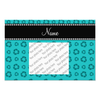 Personalized name turquoise recycling pattern photographic print