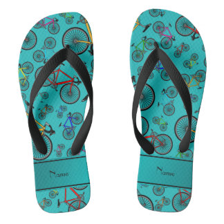 Personalized name turquoise road bikes flip flops