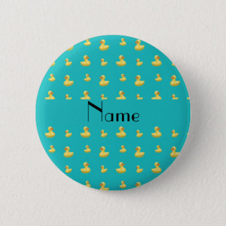 Personalized name turquoise rubber duck pattern 6 cm round badge