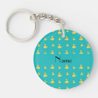 Personalized name turquoise rubber duck pattern Double-Sided round acrylic key ring