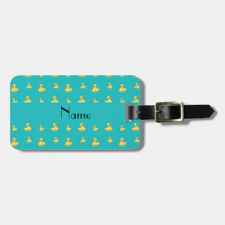 Personalized name turquoise rubber duck pattern luggage tag