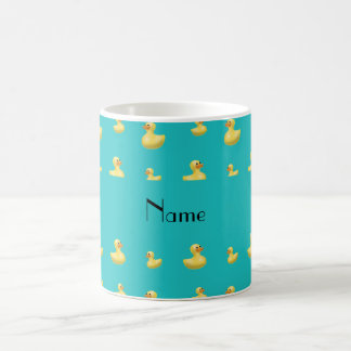 Personalized name turquoise rubber duck pattern coffee mugs