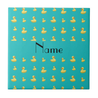 Personalized name turquoise rubber duck pattern small square tile
