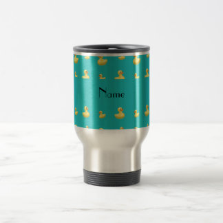 Personalized name turquoise rubber duck pattern stainless steel travel mug