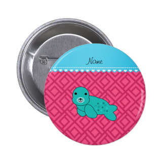 Personalized name turquoise seal pink triangles 6 cm round badge