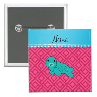 Personalized name turquoise seal pink triangles 15 cm square badge