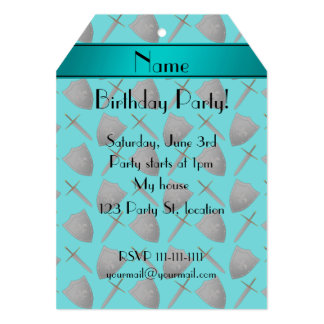 """Personalized name turquoise shields and swords 5"""" x 7"""" invitation card"""