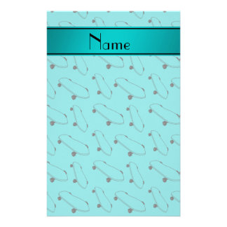 Personalized name turquoise skateboard pattern stationery
