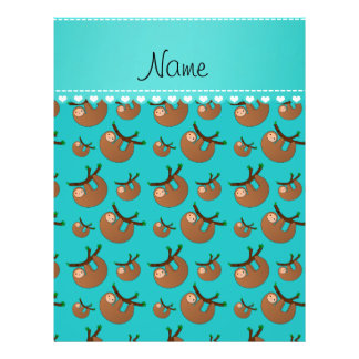 Personalized name turquoise sloth pattern 21.5 cm x 28 cm flyer