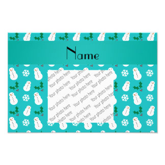 Personalized name turquoise snowman christmas photographic print