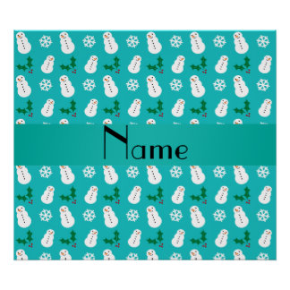 Personalized name turquoise snowman christmas print