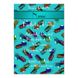 Personalized name turquoise snowmobiles 5x7 paper invitation card