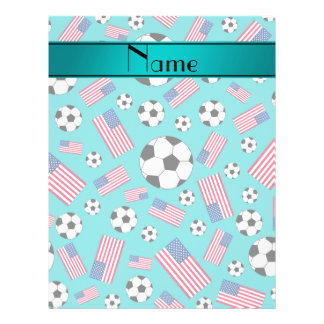 Personalized name turquoise soccer american flag 21.5 cm x 28 cm flyer