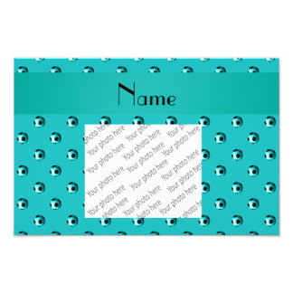 Personalized name turquoise soccer balls art photo