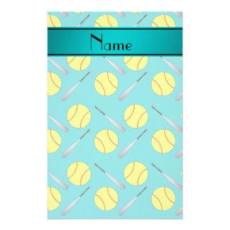 Personalized name turquoise softball pattern stationery
