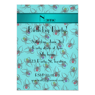 Personalized name turquoise spiders magnetic invitations