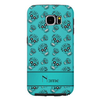 Personalized name turquoise sugar skulls samsung galaxy s6 cases