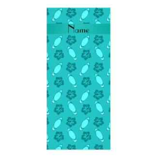 Personalized name turquoise surfboard pattern full color rack card