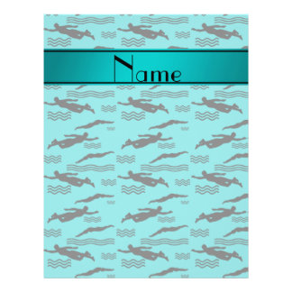 Personalized name turquoise swimming pattern 21.5 cm x 28 cm flyer