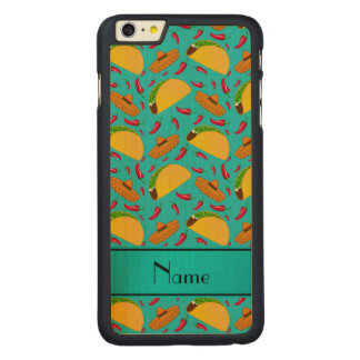 Personalized name turquoise tacos sombreros chilis iPhone 6 plus case