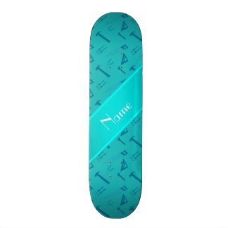 Personalized name turquoise tools pattern custom skateboard