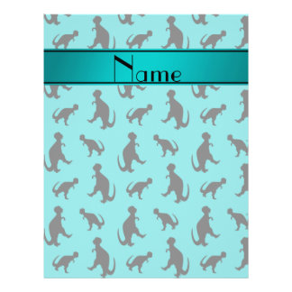 Personalized name turquoise trex dinosaurs 21.5 cm x 28 cm flyer