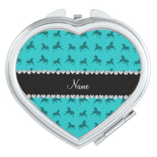 Personalized name turquoise unicorn pattern vanity mirror