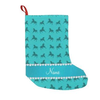 Personalized name turquoise unicorns pattern small christmas stocking