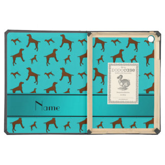 Personalized name turquoise Vizsla dogs Case For iPad Air