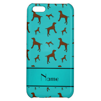 Personalized name turquoise Vizsla dogs Case For iPhone 5C