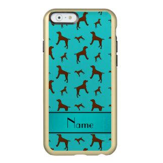 Personalized name turquoise Vizsla dogs Incipio Feather® Shine iPhone 6 Case