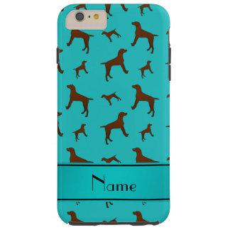 Personalized name turquoise Vizsla dogs Tough iPhone 6 Plus Case