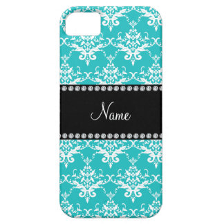 Personalized name turquoise white damask iPhone 5 covers