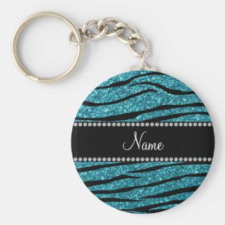 Personalized name turquoise zebra stripes basic round button key ring