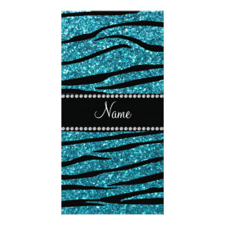 Personalized name turquoise zebra stripes personalised photo card